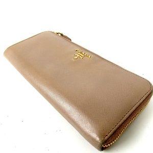 217c556ab7f7 PRADA Saffiano zipper around purse Leather Wallet
